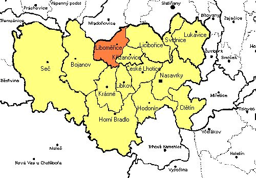 Liboměřice - mapa